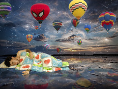 17/52 - A Midsummer Night's Dream ( Tht (slowly back...)) Tags: sleeping sunset sea summer portrait sun selfportrait man reflection photoshop hair stars hands dream fantasy ballons daydream apg ourtime 52weeks gallaxy itssummerhere goldenart magicunicornverybest imagofabulae