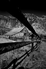 Home on the Reef (Jonmikel & Kat-YSNP) Tags: thanksgiving ranch november blackandwhite bw cliff fall barn fence mono utah ut nps farm monotone orchard sensational nationalparkservice capitolreefnationalpark fruita historicstructure blackwhitephotos flickrdiamond