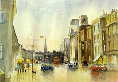 TOWARDS FALSGRAVE (VTLANDER) Tags: cars church buildings reflections watercolour scarborough wetpavement falsgrave
