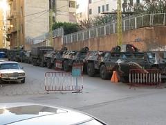 armored vehicles line street