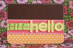 BrightHellos-1 (wonderfully complex) Tags: hello pink orange brown white green yellow pen cards handmade polkadots stitching ribbon greeting ruffle