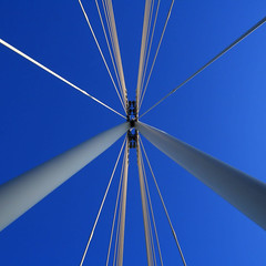 Bridge Lines 6 (Andrea Kennard) Tags: road city travel bridge blue sky cloud white abstract building tower industry beauty architecture modern river way giant spectacular concrete design construction support triangle gate arch crossing power view suspension geometry steel tube perspective arc large dramatic engineering cable structure transportation frame strong strength elegant shape tough polygon futuristic