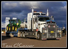 Bernie Dawe Transport (Tom O'Connor.) Tags: road sunlight storm black clouds last port train truck square pix long fuji south transport fine under over australia mobil down semi size ranges perth western land vehicle adelaide augusta trucks bernie trailer straight tractors 90 flinders mile andys trucking tanks roadhouse nullarbor truckers kenworth immaculate dawe s5700 t908