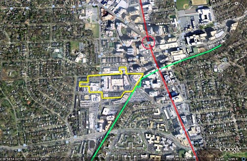 satellite view of Bethesda Row with transit & trail, in 2008 (photo by Google Earth, markings by me)