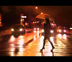 Bad Weather Beauty (~Phamster~) Tags: street cars night umbrella canon photography lights time heels crosswalk headlamps 85l 5dmkii