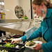 Kate Van Der Zwaag prepares a delicious looking salad in the caf.