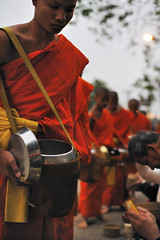 alms giving ceremony (consigliere_tom) Tags: street morning travel red food 50mm nikon asia f14 monk laos luang prabang budhhist d700 consiglieretom