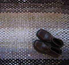 Handwoven Recycled Corduroy Rag Rug (fiveforty) Tags: brown black grey beige recycled cotton corduroy taupe corduroypants cottonpoly fiveforty