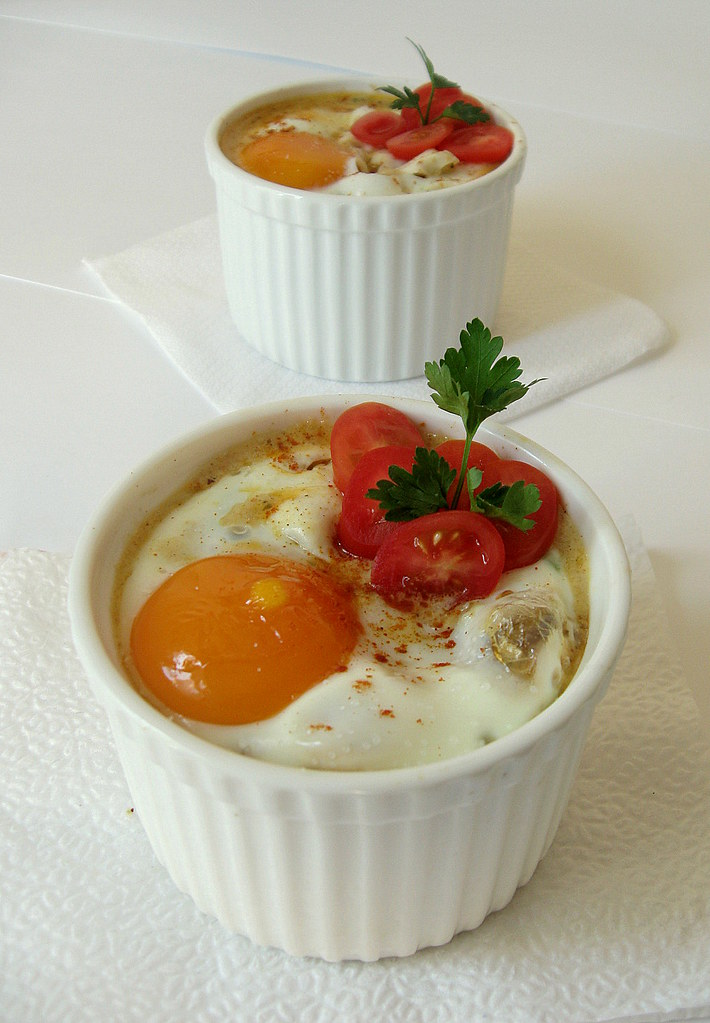 Baked eggs over hash