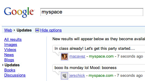 MySpace in Google Real Time