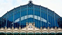The most beautiful Bus Station in the World! Station Clock of the Estación del Norte in Barcelona Spain