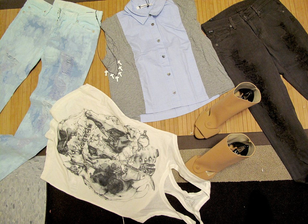 seven ripped blue jeans, citizens of humanity ripped brown jeans, all saints skull tank, t by alexander wang oxford short-sleeved, alex and chloe white cross necklace, yiorgos eleftheriades nude heels