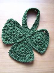 Shamrock dishcloth (ham_and_eggs) Tags: holiday cute green handmade crochet dishcloth stpatrick shamrock houseware hotpad