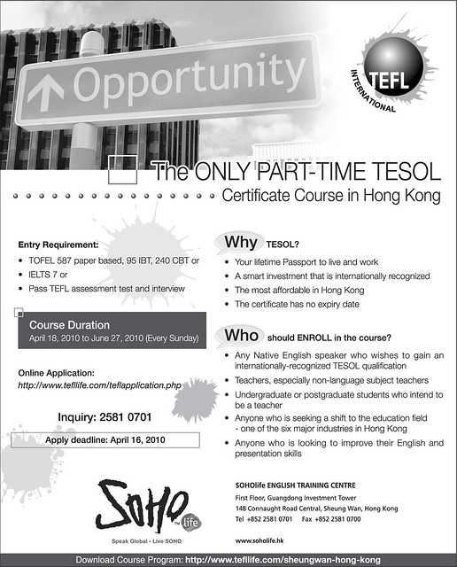 The ONLY PART-TIME TESOL Certificate Course in Hong Kong by soholifeenglish