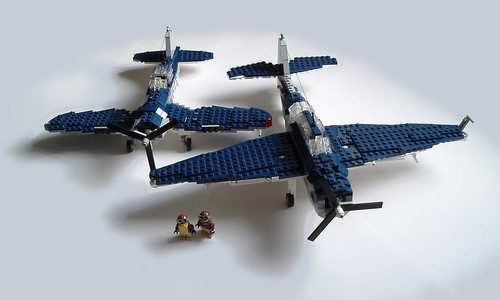 LEGO F4U Corsair and TBF Avenger US Navy fighter planes