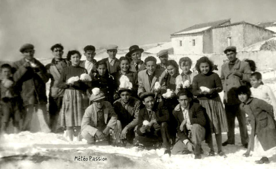 neige à Trebujena en Andalousie début février 1954
