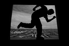 Phoon Me, NO, Phoon You (DieselDemon) Tags: bridge blackandwhite bw selfportrait silhouette dole phoon selfy