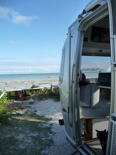 airstream at the ocean.