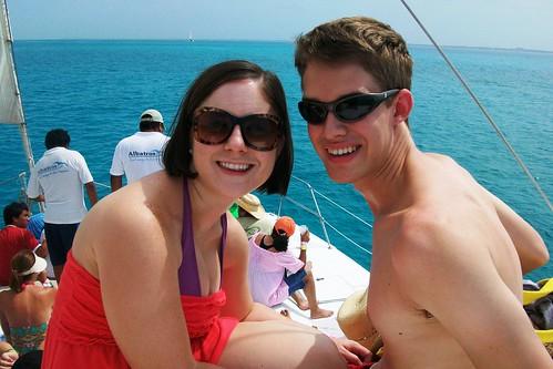 On the catamaran to Isla Mujeres