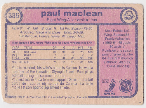 Paul MacLean 1982-83 back