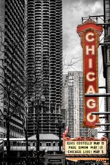 Chicago at Chicago in Chicago (mhoffman1) Tags: city chicago sign illinois theater mask theatre el nik elevated masked hdr paulsimon elviscostello selectivecolor