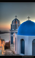 Santorini ~ Greece (Hasselbach Photography) Tags: travel cruise roof sunset sea summer sky panorama orange sun white holiday building tower leave tourism church water architecture landscape island greek volcano coast town long flickr mediterranean view cross angle god faith religion jesus wide aegean landmark tourist pot santorini greece cupola dome rest seashore hdr facebook fira hoilday photomatix hasselbach hasselbachphotography