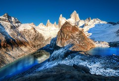 The Two Glacial Lakes of the Southern Andes  (and our experiment with a Real-Time Community continues...) (Stuck in Customs) Tags: morning travel blue wild two sky patagonia mountain snow mountains cold color ice water argentina america landscape photography march high dangerous nikon scenery colorful dynamic stuck natural outdoor hiking south lakes scenic peaceful hike glacier clear climbing crisp glaciers summit andes wilderness top100 peaks range 2009 hdr breathtaking trey customs cobalt glacial ratcliff the4elements stuckincustoms d3x