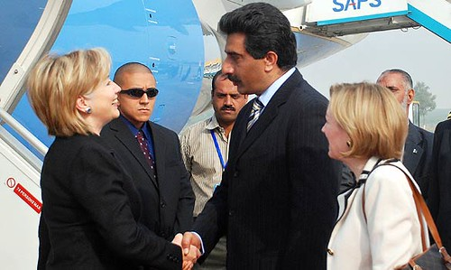 Hillary Clinton was greeted by Ghalib Iqbal, the Pakistani chief protocol officer, when she arrived for her three-day tour of Pakistan
