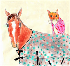 (Yoshiko Oouchi) Tags: horse color art animal animals japan illustration cat painting fun happy flickr drawing draw lovely  jacobsen  paints