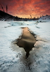 Shades Of Winter (Wolfhorn) Tags: winter sunset fab snow cold ice nature water alaska creek landscape flowing wilderness
