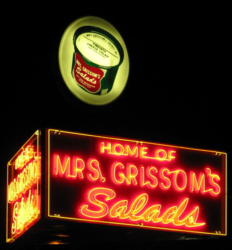 Mrs. Grissom's neon sign at night