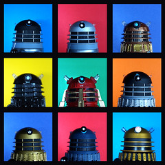 nine daleks (Johnson Cameraface) Tags: desktop autumn wallpaper lens december profile olympus led popart doctorwho scifi kit dalek cyborg 2009 zd skaro 1442mm metaltron e620 dalekdesktop classicdaleks