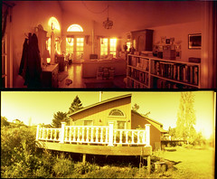 cottage, in and out (lawatt) Tags: morning panorama sunlight film 35mm diptych horizon cottage porch 202 redscale