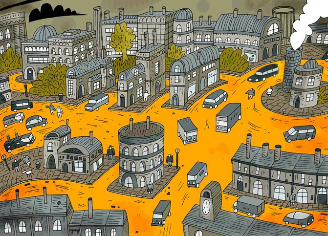 Grey Green Orange Town