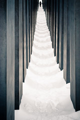 Berlin Holocaust Memorial in snow (Ole Begemann) Tags: schnee winter snow postprocessed berlin stone germany dark deutschland europa europe stein mitte holocaustmemorial 2010 petereisenman holocaustmahnmal memorialtothemurderedjewsofeurope nachbearbeitet denkmalfrdieermordetenjudeneuropas camera:iso=400 lens:focallength=50mm lens:aperture=f80 camera:model=canoneos20d camera:shutter=sec original:filename=2010011020d040788edit