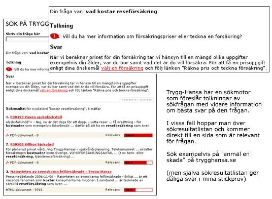 Sökmotor hos Trygg-Hansa