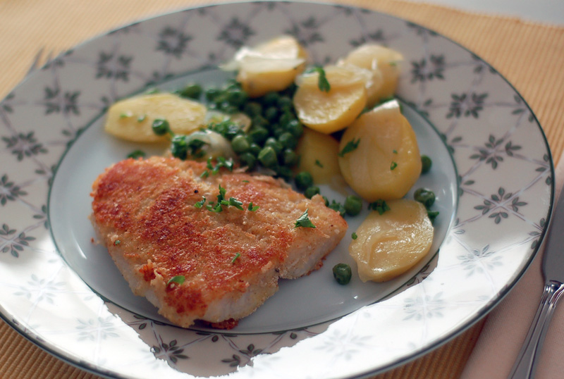 Parmesan-crusted white fish + braised potatoes with peas