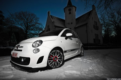 Abarth. (Denniske) Tags: lighting white holland netherlands 30 canon photography eos angle fiat 10 flash wide january nederland sigma automotive 01 mm 500 dennis blanche 1020 wit weiss vivitar bianco 31st 2010 the flashes noten abart maarheeze f456 285hv 40d denniske dennisnotencom abarth500bydennisnotencom