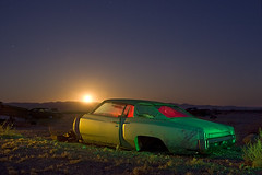 Monte Carlo Moonrise (Lost America) Tags: lightpainting chevrolet abandoned night montecarlo fullmoon chevy junkyard startrails highway395 nocturnes pearsonville