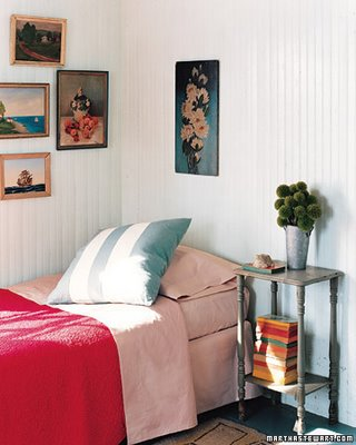 wainscoting and red bed