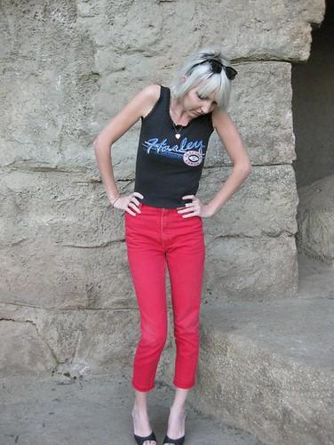 red vintage skinny bongo jeans 80s denim 1980s