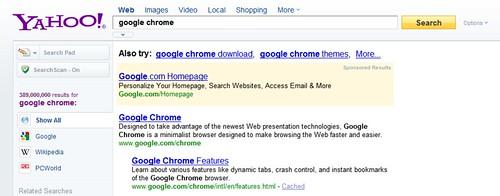 Google Chrome Ad On Yahoo