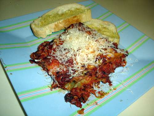 Lasagna and Garlic Bread
