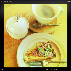 """Give a sigh of relief to me"" (weblog244) Tags: coffee digital plate fork spoon nara iphone sugarjar bananatart hipstamatic"