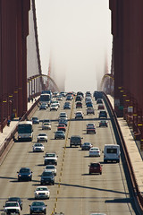 Golden Gate Bridge 2 (Izle) Tags: sanfrancisco california bridge mist cars fog traffic busy goldengatebridge canonef70300mmf456isusm