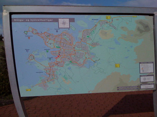 photo of bike map of reykjavik