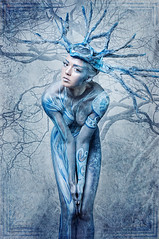 Living tree (jamari-lior) Tags: tree art nature painting colorful kunst bodypainting nakedwoman bluetree photoshooting farbenfroh nakedgirl paintedtree fotokunst paintedwoman