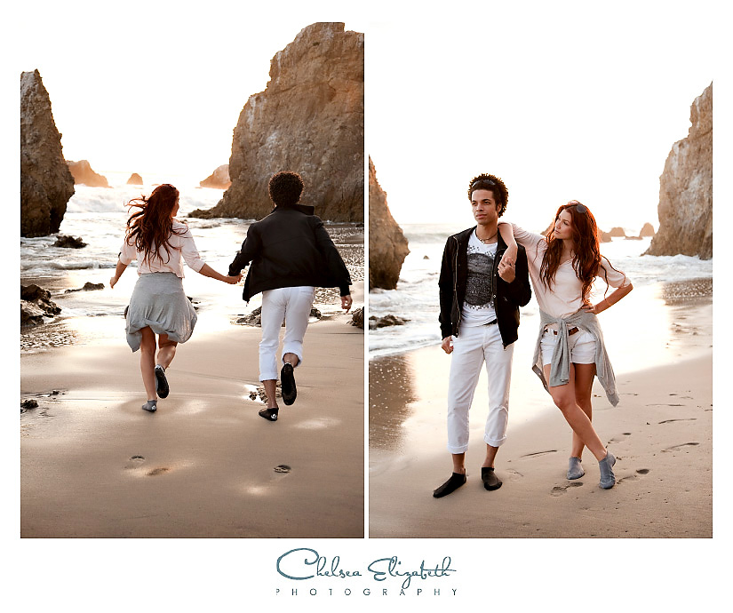 couple playing on the beach in malibu