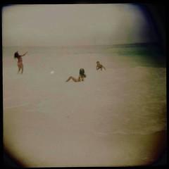 no colo de Iemanjá (gleicebueno) Tags: amigos praia rio holga rj memories infancia memorias cariocas infancy