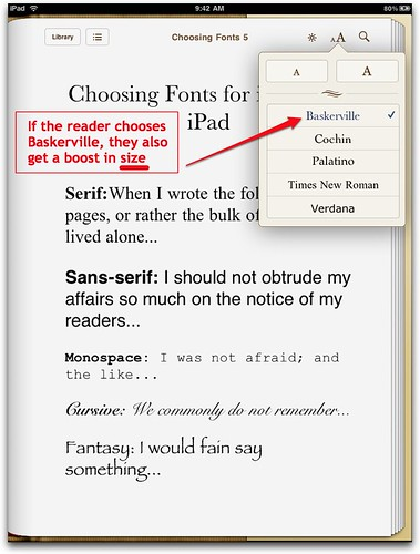 Baskerville chosen in iBooks on iPad